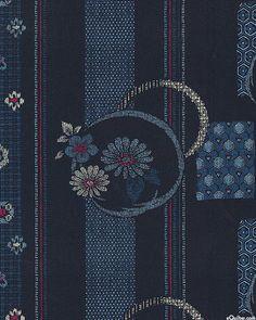 Japanese Import - Floating Flower Stripe - Indigo - COTTON DOBBY