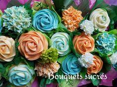 Cupcake bouquet en bac rectangulaire. Orange, turquoise, pour un petit garçon. Suivez nous sur Instagram et Facebook. Cupcakes bouquets in a planter, for a little boy's birthday. Follow us on Instagram and Facebook
