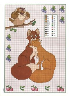 Cross stitch pattern of The Fox and the Hound Walt Disney (3 ...