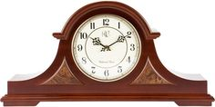 English Tambour Clock with Cherry Finish and Four Different Chimes - 10 Inches Tall - Model # 3104C