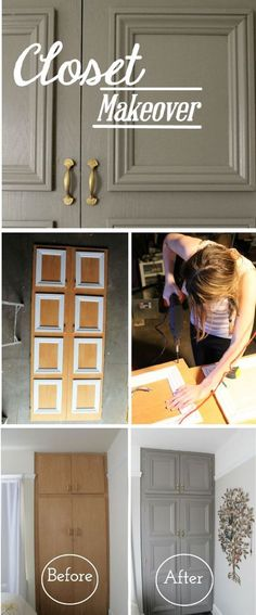 It doesn't take a complete remodel to transform the look of your master bedroom. Refacing your closet doors is easy with this DIY tutorial for a closet makeover from Rita of Rita Killilea. Easy Home Decor, Cheap Home Decor, Home Renovation, Home Remodeling, Bedroom Remodeling, Furniture Makeover, Diy Furniture, Furniture Projects, Bedroom Furniture