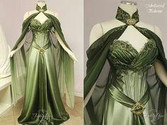 Robe elfique medieval verte par Fireflypath