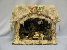 """9 ¼""""x 11"""" vintage Christmas Holiday Snow House with 1930s ERZEGBIRGE FIGURES"""