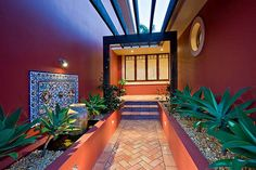 OLD SPANISH TERRACOTTA TILES it is DESIGN FLOOR in SPANISH STYLE mediterranean entry