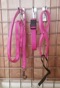 25mm Side Release Collar with matching Training Lead on Cerise cushioned webbing.  A matching Standard 8 Head Collar on 20mm Cerise webbing with cerise fleece lining.