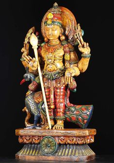 "View the SOLD Wood Standing Murugan Statue 30"" at Hindu Gods & Buddha Statues"