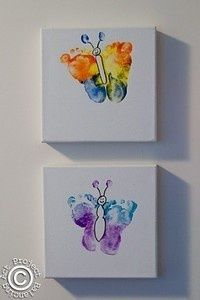 cute butterfly canvases using footprints