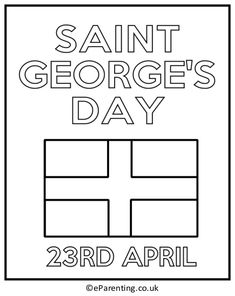 Georges Day colouring pictures, with dragons, knights and the England flag. Georges Day celebrates the patron saint of England. Work Activities, Color Activities, Patron Saint Of England, St George Flag, Coloring Pictures For Kids, Saint George And The Dragon, St Georges Day, Dragon Kid, St George's