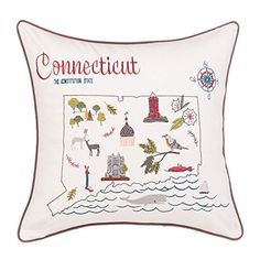 Xubox Embroidered Throw Pillow Covers The View of Connecticut State Home Decor Embroidery Cotton Linen Square Decorative Pillow Case Cushion Cover Pillowcase Sham 18 x 18 -- Click image for more details. Note: It's an affiliate link to Amazon