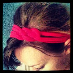 Up-cycling: T-shirt turned knot headband!  No sewing required.  Just a glue gun and some scissors.