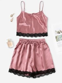 To find out about the Lace Trim Satin Cami Top & Shorts PJ Set at SHEIN, part of our latest Night Sets ready to shop online today! Cute Sleepwear, Satin Sleepwear, Nightwear, Cute Pjs, Cute Pajamas, Cami Tops, Pink Fashion, Fashion Outfits, Fashion Black