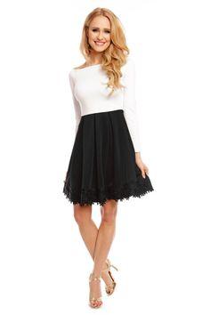 33e1fece752d Dámské společenské šaty s dlouhým rukávem a skládanou sukní bílo-černé