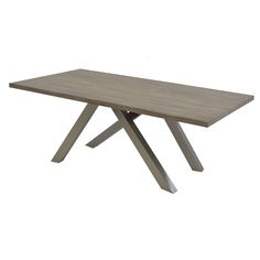 """Unwind in the present with the stylizations of the past via the Chastity Dining Table. Rustic undertones and a brushed steel crisscrossed base dock a 79"""" rectangular wood tabletop for a visual feast with every sitting."""