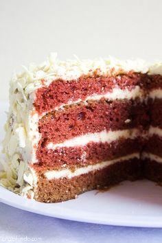 Red Velvet Cake Com Ganache Branco