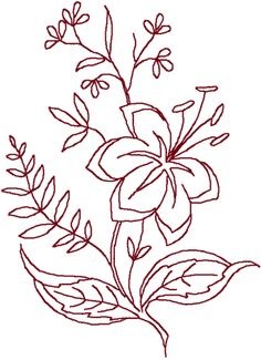 Redwork Lily #2 Embroidery Design