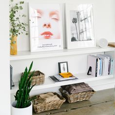Display your books and your art with low white bookcase shelves with basket storage underneath