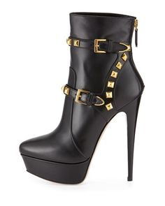 Miu Miu Studded Black Harness Platform Stiletto Boots €991 Fall Winter 2014 #Shoes #Heels #Booties