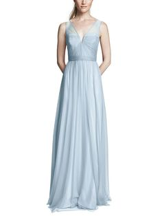 Take a look at this gorgeous Amsale Alyce bridesmaid dress in soft blue fabric! Available in sizes and tons of colors at Brideside. Shop online, try at home or visit one of our showrooms! Amsale Bridesmaid, Bridesmaid Dress Styles, Wedding Dresses, Grey Long Sleeve Dress, Tulle Dress, Fashion Dresses, Blue Fabric, Ethereal, Surf