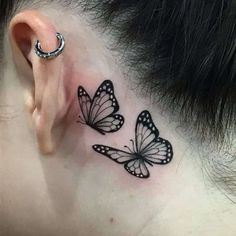 Behind Ear Tattoo Small, Back Ear Tattoo, Side Neck Tattoo, Behind Ear Tattoos, Floral Thigh Tattoos, Dainty Tattoos, Dope Tattoos, Mini Tattoos, Tatoos