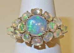 3 40 cts Ethiopian Welo Opal Cluster Ring in 925 Sterling Silver | eBay