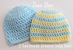 Premature Baby Hats 2 NICU Hats Twin Hats Tiny Baby | Etsy Preemie Babies, Premature Baby, Twin Babies, Baby Boy Hats, Crochet Round, Newborn Baby Gifts, 2nd Baby, Nicu, Handmade Baby