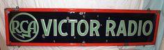 RCA Victor Radio Antique Porcelain Sign (Old 1940 Vintage Communications Advertising Large Embossed Sign)