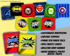 Superhero Baby Shower Printable Party Package by DarlingDoodle
