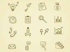 16 Hand Drawn Business Icon http://dlpsd.com/16-hand-drawn-business-icon/