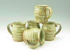 Coffee Mug Singles | Handmade Pottery Spiral Beer Mug | Sturdy Pot Belly Style 16 oz Tea Mug | Key Lime Pie Green Stoneware Soup Mug