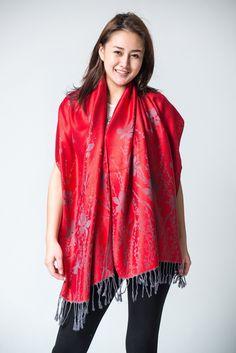 Nepal Hand Made Pashmina Shawl Scarf Red