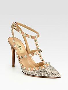 Valentino - Crystal-Coated Satin T-Strap Pumps