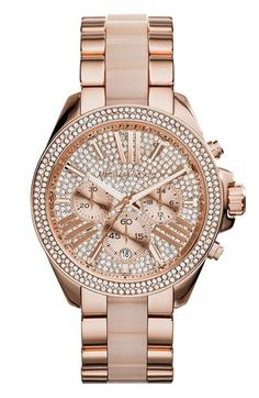 Free shipping and returns on MICHAEL Michael Kors Michael Kors 'Wren' Pavé Chronograph Acetate Link Bracelet Watch, 42mm at Nordstrom.com. A beautiful rose-gold finish and blush-hued acetate center links combine in this sophisticated bracelet watch topped with a round chronograph case paved with glimmering crystals.