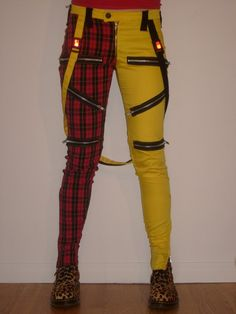 Bondage pants yellow/plaid. Drew would totally rock these. He's style can range into a bit androgynous