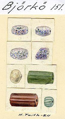 Birka Grave BJ151 #SPT Beads.  Glass, rock crystal, carnelian.