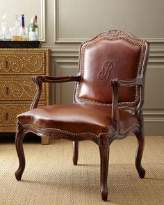 Shop Monogrammed Leather Chair from Old Hickory Tannery at Horchow, where you'll find new lower shipping on hundreds of home furnishings and gifts. Traditional Chairs, Traditional Interior, Side Chairs, Dining Chairs, Old Hickory Tannery, Trendy Home, Home Decor Furniture, Furniture Design, Bars For Home