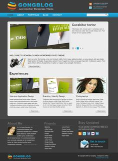 "Minimalist PSD WordPress Theme Template ""Gongblog"""