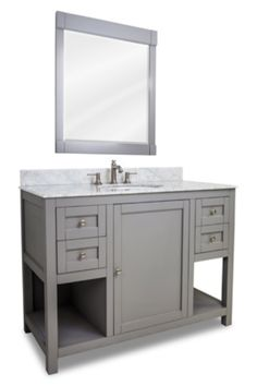 Two Sided Drawer Grey Wood Traditional Shaker Vanity Set with marble top  Click here to purchase: