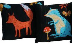 fox and badger pillows