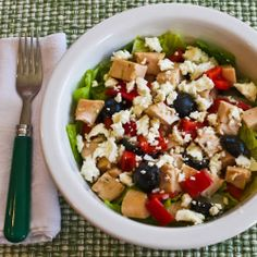 Chicken Chopped Salad with Red Pepper, Olives, and Feta
