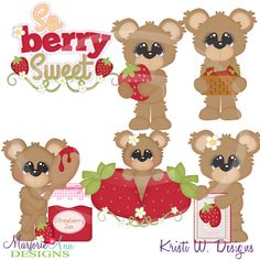Berry Sweet Bears~SVG-MTC-PNG plus JPG Cut Out Sheet(s) Our sets also include clipart in these formats: PNG & JPG