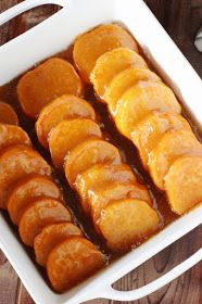 Sweet potato coins bathed in brown sugar-butter glaze are the perfect addition to any Thanksgivng, Christmas, or Fall dinner. And this Gla...