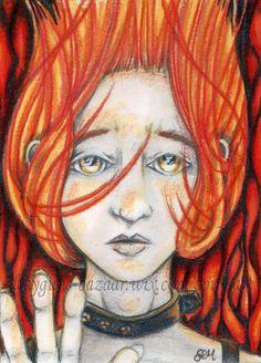 ACEO Original Art Character Woman Fire Red Cartoon Miniature Drawing -SMcNeill #Miniature #ebay #aceo #art #originalcharacter #fire
