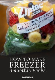 Rezepte Check out this time-saver: Prep all the fruit and greens you use in your smoothies, and freeze individual serving sizes in quart-sized freezer bags. Note any ingredients that need to be added to the blender, and your smoothie is as good as done. Smoothie Prep, Smoothie Fruit, Freezer Smoothie Packs, Breakfast Smoothies, Healthy Smoothies, Healthy Drinks, Healthy Recipes, Simple Smoothies, Making Smoothies