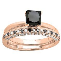 Elora 14k Gold 1.5ct TDW Black and White Princess-cut Diamond Bridal Ring Set (14k Rose Gold- Size 7), Women's, Pink