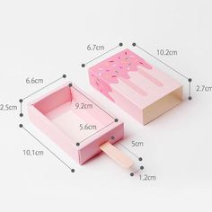 Pink Ice Cream Shape Cute Gift Box Popsicle Candy Folding Paper Box Cartoon Drawer Gift Box Fo gifts Pink Ice Cream Shape Cute Gift Box Popsicle Candy Folding Paper Box Cartoon Drawer Gift Box For Kids Baby Shower Birthday Cute Gift Boxes, Diy Gift Box, Diy Box, Cute Gifts, Diy Paper Box, Cute Box, Paper Boxes, Paper Gift Box, Paper Box Template
