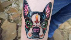 Boston terrier sugar skull tattoo, done by Cree jay jones