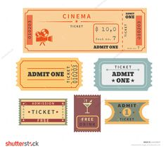 Retro tickets set. Temlate vector illustration for cinema and other events. Text outlined
