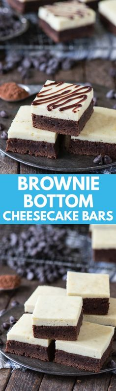 The easiest brownie bottom cheesecake bar recipe! Who doesn't love brownies and cheesecake?!