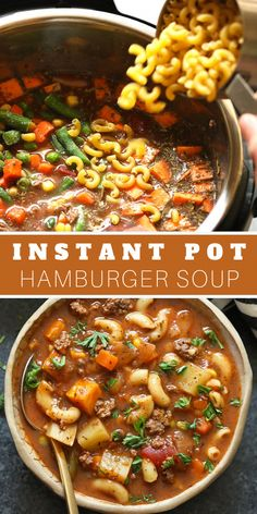 Instant Pot Hamburger Soup Prep all your ingredients, throw them in the instant and let it cook for only 5 minutes! This Instant Pot Hamburger Soup recipe is a healthy weeknight winner that Instant Pot Dinner Recipes, Healthy Soup Recipes, Seafood Recipes, Instapot Soup Recipes, Healthy Hamburger Recipes, Recipe For Hamburger Soup, Instapot Chicken Soup, Vegetable Recipes, Slow Cooker Hamburger Soup