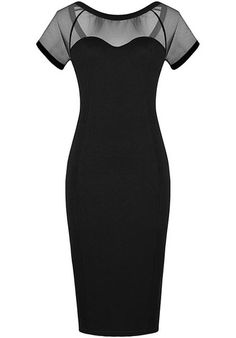 Black Contrast Sheer Mesh Yoke Bodycon Dress pictures